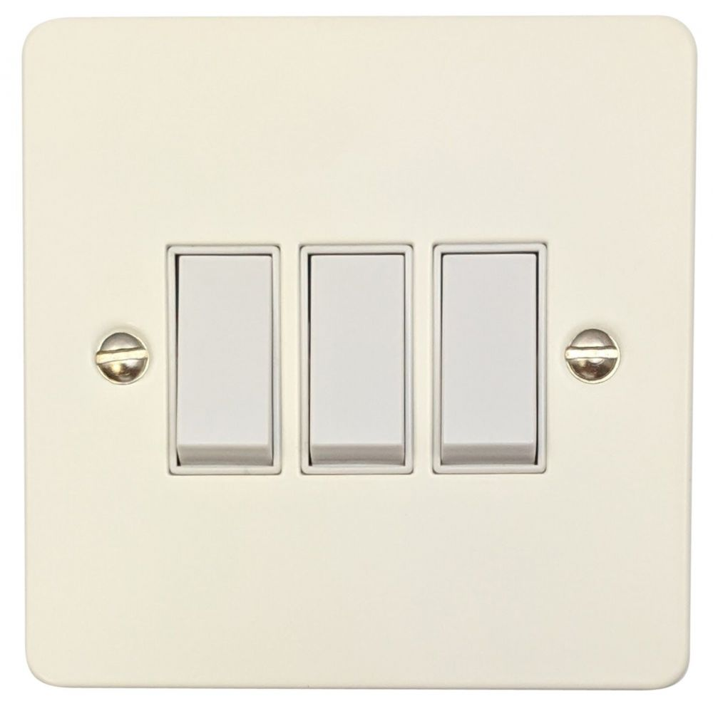 G&H FW3W Flat Plate Matt White 3 Gang 1 or 2 Way Rocker Light Switch
